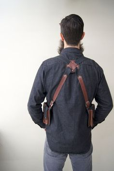 Brown and black leather holster bags/ western by RevivallClothing Cowboy Holsters, Western Holsters, Gun Holster, Leather Holster, Leather Bag, Black Leather, Leather Working Patterns, Belt Pouch, Kinds Of Clothes