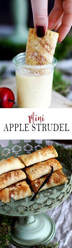 Mini Apple Strudel with Homemade Vanilla Sauce   Mini Apfelstrudel mit hausgemachter Vanillesauce