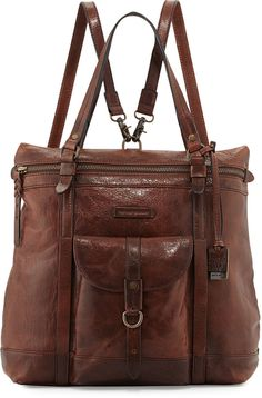 $598, Dark Brown Leather Tote Bag: Frye Josie Leather Backpack Tote Bag Dark Brown. Sold by Neiman Marcus. Click for more info: https://lookastic.com/women/shop_items/145974/redirect