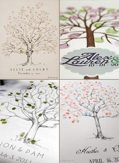 Thumbprint Tree Inspiration:  have kiddos fingerprint the tree's leaves and then I write or they write their little names as a gift for Room Mom :)
