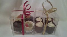 4 Chocolate cups filled with sweets and chocolate ganache. Perfect as favours