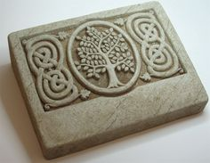 Celtic Tree Stone - Our tree of life image and Celtic vine pattern,