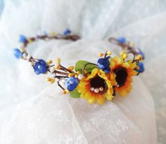 sunflower floral circlet, yellow flower wreath, hair accessory, festival - DILLY DALLY - royal blue headpiece,  crown, hair accessories. $95.00, via Etsy.