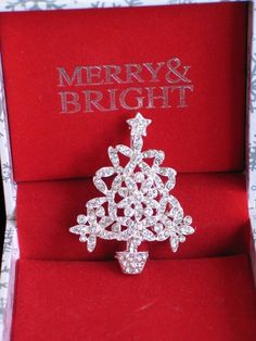 "NIB MERRY & BRIGHT SILVER CLEAR RHINESTONE CHRISTMAS TREE PIN BROOCH JEWELRY 2"" #MERRYBRIGHT #PINBROOCHJEWELRY"
