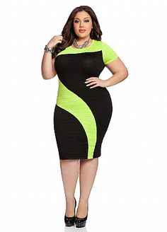 Ashley Stewart: Color Block Ribbed Dress