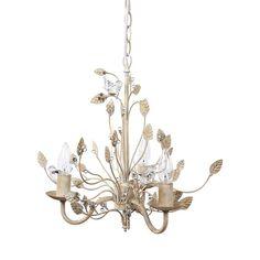 Golden Vines Metal Chandelier with Glass Birds