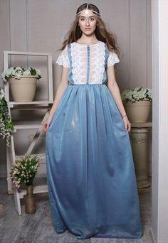 Vintage+style+blue+chiffon+formal+wedding+lace+maxi+dress