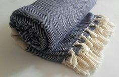 Cotton blanket in Blue Herringbone  King size by CottonMood