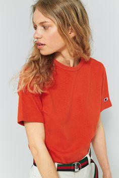 Slide View: 3: Champion Orange Logo Sleeve T-Shirt
