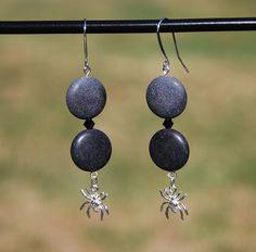 sterling silver spider earrings, silver spider charms, halloween earrings, matte jasper earrings, japser earrings, swarovski jasper earring - pinned by pin4etsy.com