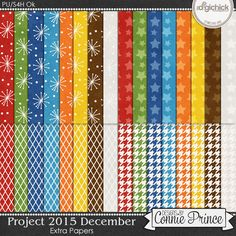 Project 2015 December - Extra Papers by Connie Prince. Includes 32 basic patterned papers. Scrap for hire / others ok.