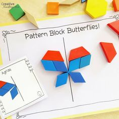 Pattern block butterflies line of symmetry math center for kindergarten. A sun activity to practice symmetry. Symmetry Math, Symmetry Activities, Kindergarten Activities, Classroom Activities, Preschool Activities, Morning Activities, Kindergarten Teachers, Group Activities, Sun Activity