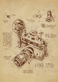 Macedonian artist Enkel Dika has killer illustrations for creative inspirations. We chose our favorite—LEONARDO DA VINCI'S CAMERA, of course. See more of the artist's work right here. Hope you discovered something new with us today! Camera Drawing, Camera Art, Canvas Art, Canvas Prints, Art Prints, Illustrations Techniques, Technical Illustrations, Patent Drawing, Patent Prints