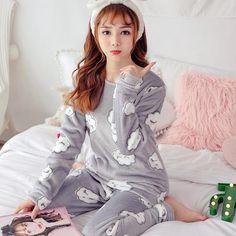 New WAVMIT 2018 Winter Pajamas Women Warm Flannel Thickening Pijama Pattern Pajamas  Set ladies Pyjamas Sleepwear d7d48c6c2