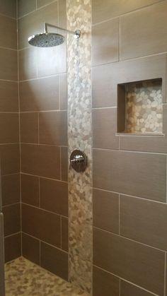 Sliced Java Tan and White Pebble Tile - Pebble Tile Shop but run tile vertical instead.