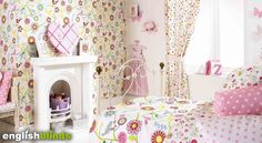 Fabulous floral patterned girl's nursery or bedroom curtains