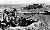 The Nazi propaganda picture shows soldiers of the German Wehrmacht at an anti-aircraft position in Tunisia. The - Stock Photo