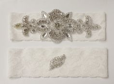 Lace wedding garter with crystal design in ivory