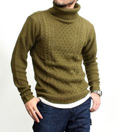 Knit men's Revo Revo... Sweater long sleeve cable knit Turtleneck high neck acrylic knit men's fashion brand fashion simple plain khaki olive green (26-th2176)