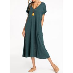 Solid Short Sleeve Maxi A-line Dress (01955248665)
