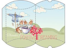 Peter Rabbit Pillow Box Printable Instant Download PRODUCT DETAILS: - Includes 1 big pillow box (as you can see in the photo ) to print in a Beatrix Potter, Peter Rabbit Party, Party Printables, Free Printables, Big Pillows, Floral Logo, Alice In Wonderland Party, Pillow Box, Fun Prints