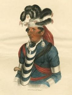 """James Otto Lewis--- """"'Brewett'/Miami Chief""""---  James Otto Lewis attended treaty council meetings in the Great Lakes region between 1825 and 1827 on a commission from the Indian Department. His portraits were to be distributed as hand coloured lithographs to subscribers in 10 installments with a subsequent circular recording his interviews of the native American Chiefs that sat for him."""