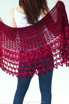 Red Velvet Rose Crochet Wrap Shawl Pattern by Expression Fiber Arts