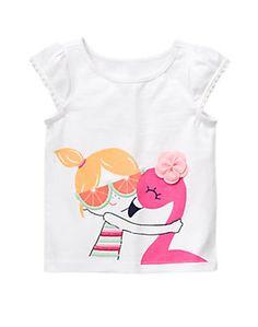 Girls Flamingo ruffled cap sleeve top