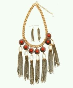 Bohemian Tassle Neckdress Set - Red Stone Perfect Statement Piece for a Solid or Low Cut Outfit ​Comes with Earrings