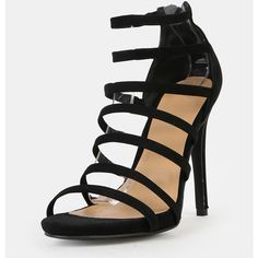 SheIn(sheinside) Strappy Stiletto Open Toe Heels BLACK ($38) ❤ liked on Polyvore featuring shoes, pumps, black strap pumps, black pumps, strap pumps, black strappy pumps and black shoes
