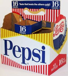 Old soda pop bottle carton PEPSI Pepsi Cola die cut bottle cap pic new old stock