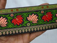 Wholesale Brocade Jacquard Ribbon Trim Jacquard Trim By 9 Yard Indian Sewing Sari Border Decorative Craft Ribbon Trimmings Jacquard Border You can also purchase from What's App no. Sewing Lace, Sewing Trim, Diy Arts And Crafts, Decor Crafts, Hand Work Embroidery, Border Embroidery, Embroidery Patterns, Floral Ribbon, Floral Lace