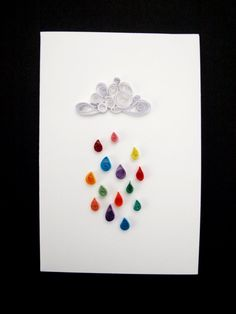 Multi coloured rain quilled card by allanamphotography on Etsy, £2.50