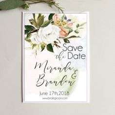 Digital  Printable Save the Date Floral Wedding  Oil Painted Save the Dates  Personalized Save the Date