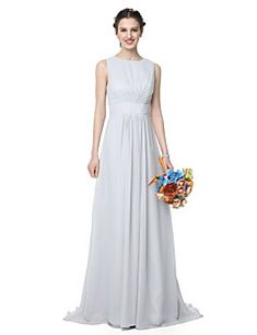 A-Line Jewel Neck Floor Length Chiffon Bridesmaid Dress with Pleats by LAN  TING BRIDE® e7d85af63afb
