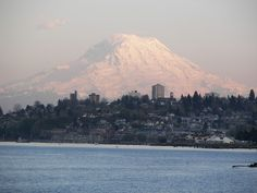 Tacoma, WA : City of Tacoma and Puget Sound waterfront near sunset time set against Mt Rainier