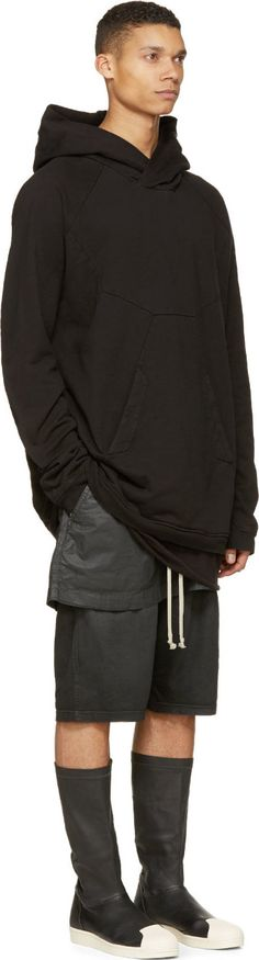 Rick Owens Drkshdw Black Layered Kilt Pod Shorts