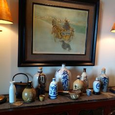 Sake jug collection.