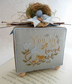 You are loved, cross stitch finished shelf box. Cross Stitch Bird, Counted Cross Stitch Patterns, Cross Stitching, Easter Cross, Cross Stitch Finishing, Stitch 2, Needle And Thread, Hand Embroidery, Desi