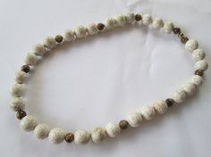 White Magnesite and Tiger Eye Beaded Necklace by dreamdesigns