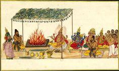 Wedding Bhava (Shiva) and Sati in the presence of the gods. Album of 89 illustrations of the Bhagavata Purana. Probably Tamil Nadu and south-eastern Karnataka current. c. 1780-1785. https://translate.google.com/translate?hl=en&sl=fr&tl=en&u=http%3A%2F%2Fexpositions.bnf.fr%2Finde%2Fgrand%2Fod34_031.htm