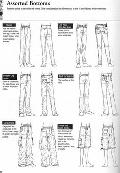 """Drawing Tutorial How to draw shirts and pants - from Graphic-Sha's """"Drawing Yaoi"""" - Assorted Bottoms (Pants) - - Drawing Skills, Drawing Lessons, Drawing Techniques, Drawing Tips, Drawing Reference, Drawing Ideas, Wie Zeichnet Man Manga, Manga Tutorial, Poses References"""