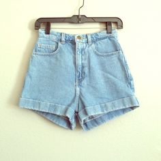 American Apparel High Waisted Cuff Shorts These high waisted shorts are so cute with a crop top or a bikini.  Great for summer!  100% cotton.  Worn once. American Apparel Shorts Jean Shorts