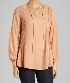 Another great find on #zulily! Pink Crochet Notch Neck Peasant Top - Plus by Wapi #zulilyfinds
