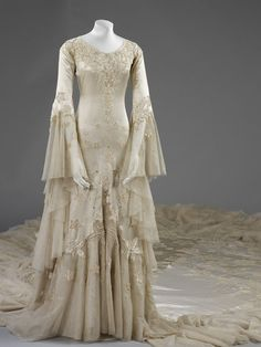 Ephemeral Elegance Bias Cut Satin Wedding Gown with Tulle Accents, Beading, Appliques, and an 18-Foot Train, 1933