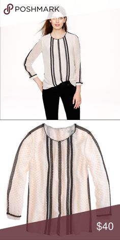 """J.Crew Lace-Trim Swiss Dot Top Size 10. No signs of wear. 75% silk, 25% cotton. Ivory and Black. Button closure up the back. Bracelet sleeves. Partially lined. Dry-clean. 26"""" length, 18"""" pit to pit. J. Crew Tops Blouses"""