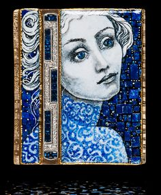Marianne Hunter, Dreamer's Eyes, 2 Panels: Grisaille Enamel w/ Silver Foils, Antique Diamond & Sapphire Pin, Gold