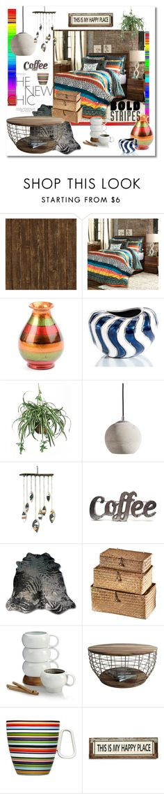 """""""my happy place - bold stripes and rustic charm"""" by psyche8778 ❤ liked on Polyvore featuring interior, interiors, interior design, home, home decor, interior decorating, John-Richard, Nearly Natural, Muubs and Rustic Arrow"""