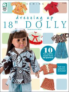 "Sewing - Doll & Toy Patterns - 18"" Doll Clothes Patterns - Dressing Up 18"" Dolly"