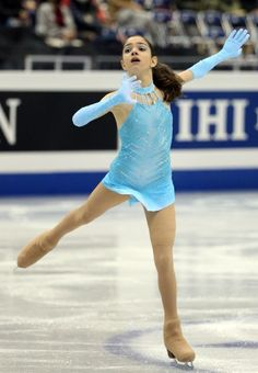 Evgenia Medvedeva, 2014 Junior Grand Prix, Blue Figure Skating / Ice Skating dress inspiration for Sk8 Gr8 Designs